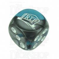 Chessex Gemini Steel & Teal RIP Logo D6 Spot Dice