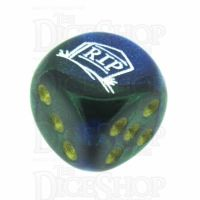 Chessex Gemini Blue & Green RIP Logo D6 Spot Dice