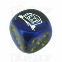 Chessex Gemini Black & Blue RIP Logo D6 Spot Dice