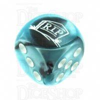 Chessex Gemini Black & Shell RIP Logo D6 Spot Dice