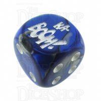 Chessex Gemini Blue & Steel KA-BOOM! Logo D6 Spot Dice