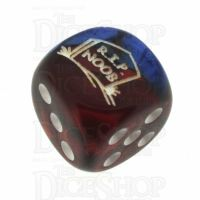 Chessex Gemini Blue & Red with White RIP NOOB Logo D6 Spot Dice