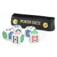 Poker Dice D6 Game in Grained Leather Case