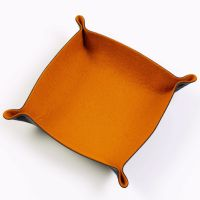 Folding Merino Dice Tray - Pumpkin