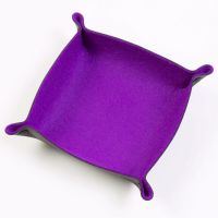 Folding Merino Dice Tray - Purple
