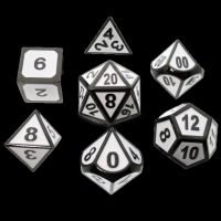 TDSO Metal Fire Forge Black Nickel & White Enamel 7 Dice Polyset