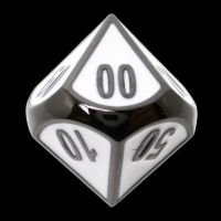 TDSO Metal Fire Forge Black Nickel & White Enamel Percentile Dice