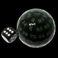 TDSO Cannonball Opaque Black & Green D100 Dice