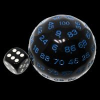 TDSO Cannonball Opaque Black & Blue D100 Dice