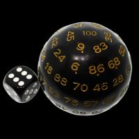 TDSO Cannonball Opaque Black & Yellow D100 Dice