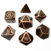 TDSO Metal Gears Copper & Amber Mica 7 Dice Polyset