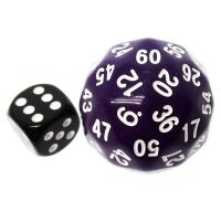 TDSO Opaque Purple & White 38mm D60 Dice