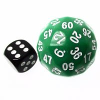TDSO Opaque Green & White 38mm D60 Dice