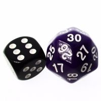 TDSO Opaque Purple & White 25mm D30 Dice