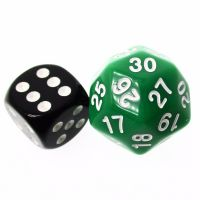TDSO Opaque Green & White 25mm D30 Dice