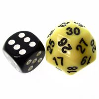 TDSO Opaque Yellow & Black 25mm D30 Dice