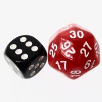 TDSO Pearl Red & White 25mm D30 Dice