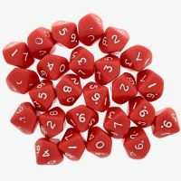 CLEARANCE D&G Opaque Red 25 x D10 Dice Set - SECONDS