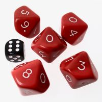 CLEARANCE D&G Opaque Red JUMBO 34mm 5 x  D10 Dice Set - SECONDS