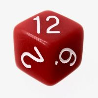 Tessellations Opaque Red & White Rhombic D12 Dice
