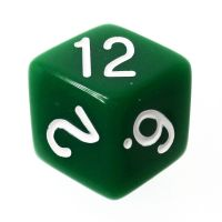 Tessellations Opaque Green & White Rhombic D12 Dice