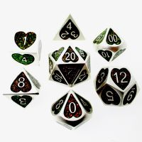 TDSO Metal Silver Heart & Iridescent Mica 7 Dice Polyset