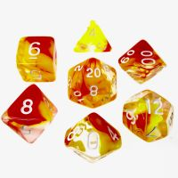 TDSO Cyclone Red & Yellow 7 Dice Polyset