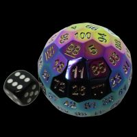 TDSO Metal Cannonball Iridescent Rainbow 55mm D100 Dice