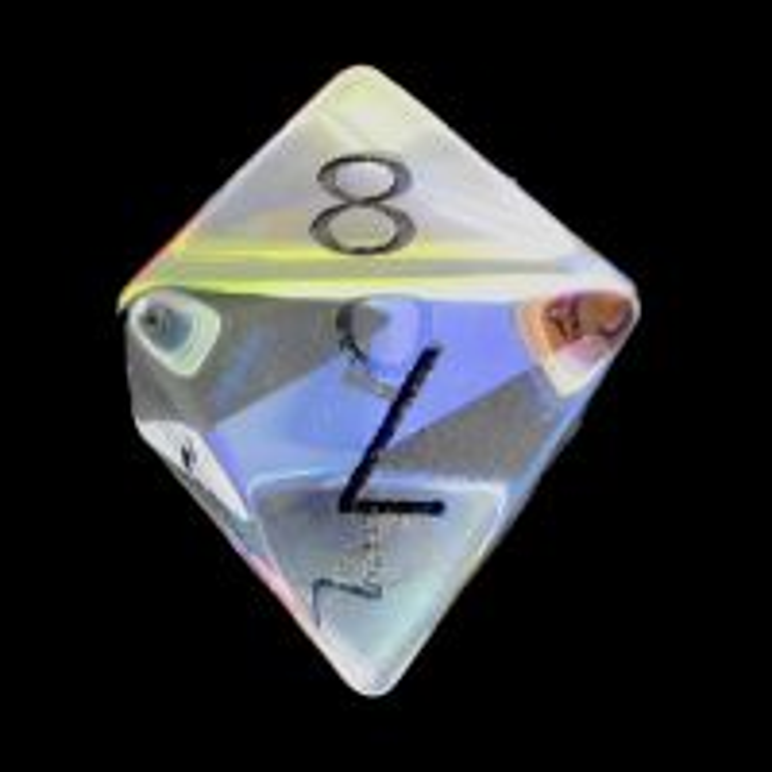 TDSO Zircon Glass Rainbow Engraved Black Numbers Precious Gem D8 Dice