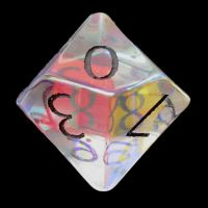 TDSO Zircon Glass Rainbow Engraved Black Numbers Precious Gem D10 Dice