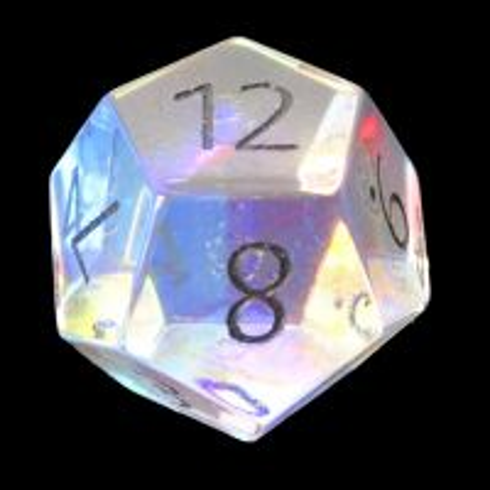 TDSO Zircon Glass Rainbow Engraved Black Numbers Precious Gem D12 Dice