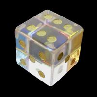 TDSO Zircon Glass Rainbow Engraved Gold Numbers Precious Gem D6 Spot Dice