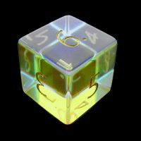 TDSO Zircon Glass Rainbow Engraved Gold Numbers Precious Gem D6 Dice
