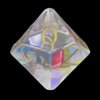TDSO Zircon Glass Rainbow Engraved Gold Numbers Precious Gem D10 Dice