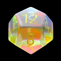 TDSO Zircon Glass Rainbow Engraved Gold Numbers Precious Gem D12 Dice