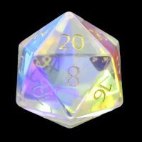 TDSO Zircon Glass Rainbow Engraved Gold Numbers Precious Gem D20 Dice