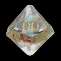 TDSO Zircon Glass Rainbow Engraved Gold Numbers Precious Gem Percentile Dice