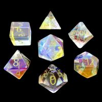 TDSO Zircon Glass Rainbow Engraved Gold Numbers Precious Gem 7 Dice Polyset