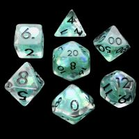 TDSO Teal Dragon Scale & Black 7 Dice Polyset