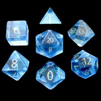 TDSO Zircon Glass Blue Topaz with Engraved Numbers Precious Gem 7 Dice Polyset