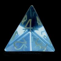 TDSO Zircon Glass Blue Topaz with Engraved Numbers Precious Gem D4 Dice