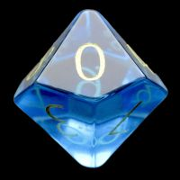 TDSO Zircon Glass Blue Topaz with Engraved Numbers Precious Gem D10 Dice