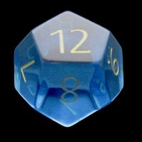 TDSO Zircon Glass Blue Topaz with Engraved Numbers Precious Gem D12 Dice