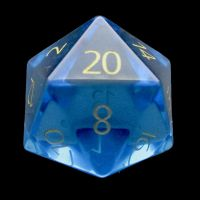 TDSO Zircon Glass Blue Topaz with Engraved Numbers Precious Gem D20 Dice