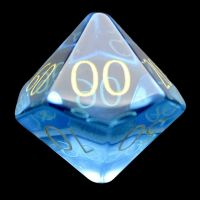 TDSO Zircon Glass Blue Topaz with Engraved Numbers Precious Gem Percentile Dice
