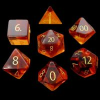 TDSO Zircon Glass Yellow Topaz with Engraved Numbers Precious Gem 7 Dice Polyset