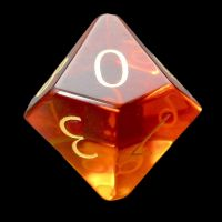 TDSO Zircon Glass Yellow Topaz with Engraved Numbers Precious Gem D10 Dice