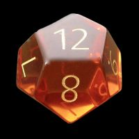 TDSO Zircon Glass Yellow Topaz with Engraved Numbers Precious Gem D12 Dice