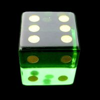 TDSO Zircon Glass Emerald with Engraved Numbers 16mm Precious Gem D6 Spot Dice
