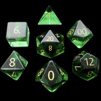 TDSO Zircon Glass Emerald with Engraved Numbers 16mm Precious Gem 7 Dice Polyset